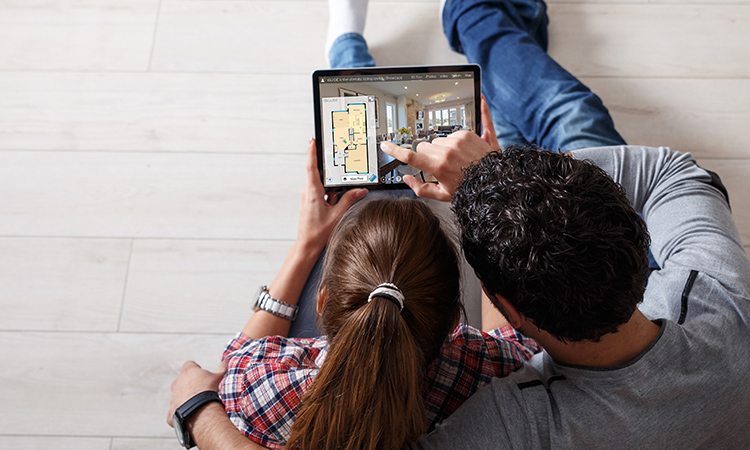looking at a real estate virtual tour