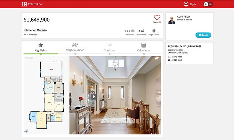 Real Estate listing on realtor.ca